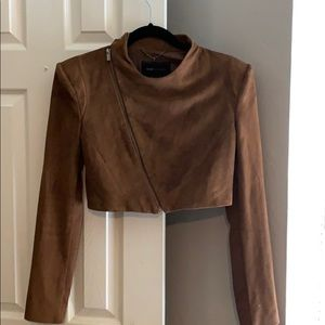 Bcbg Max Adria Crop Brown Suede Jacket